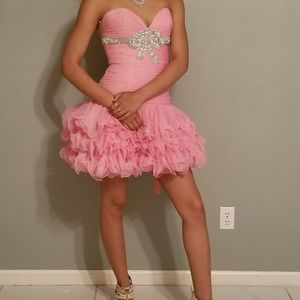 strapless pink ruffle bow  prom dress